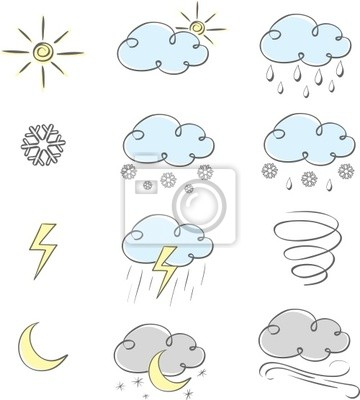 Poster Hand drawn cute weather icons collection