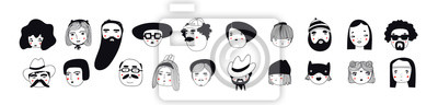 Poster Hand drawn doodle set of people faces. Perfect for social media, avatars. Portraits of various men and women. Trendy black and white icons collection. Vector illustration. All elements are isolated