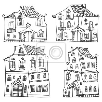 Hand drawn set of sketched typical country houses isolated on white background. Cartoon houses. Front view. Vector illustration. Black and white colors.
