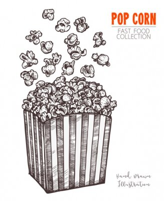 Poster Hand drawn sketch popcorn, cinema food snack in engraved style. Vector illustration of full box with flying corn. Symbol of fastfood, cinema, entertainment. Vector isolated on white background