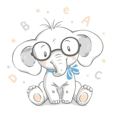 Poster Hand drawn vector illustration of a cute baby elephant in big glasses.