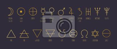 Poster Hand-drawn vector set of alchemical symbols in golden gradient.