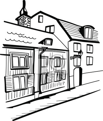 Hand drawn vector sketch. Illustration of houses isolated on white background.
