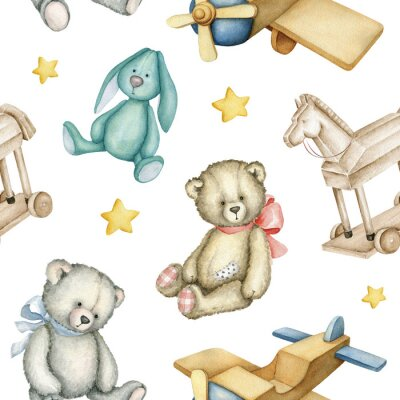 Poster Hand drawn watercolor seamless pattern with old-fashioned toys. Teddy Bears. Bunny toy. Airplane. Rocking horse. Watercolor Illustration on white background.