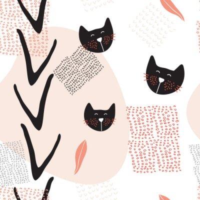 Poster Hand gezeichnet abstrakte nahtlose Hintergrundmuster mit niedlichen Katzen