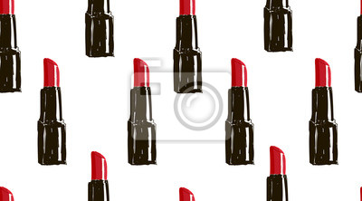 Poster Hand gezeichnet Lippenstift nahtlose Muster. Liebe Mode Hand gezeichnet Text und Make-up-Design-Elemente. Moderne Schönheit Illustration nahtlose Muster. Skizze gesetzt.