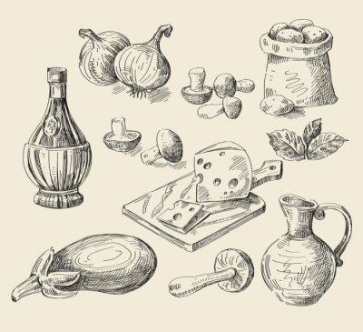Poster Hand gezeichnet Skizze Lebensmittel