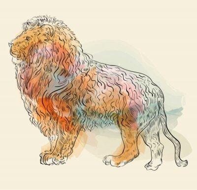 Poster Hand gezeichnet Vektor-Illustration mit Löwen