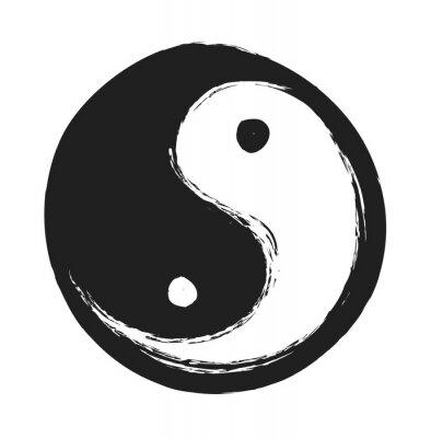 Poster Hand gezeichnet ying yang symbol der harmonie und balance, design-element