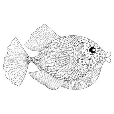 Hand Gezeichnet Zentangle Fisch Für Erwachsene Anti Stress