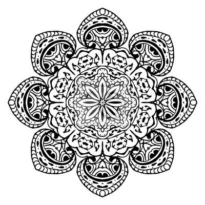 hand gezeichnet zentangle muster mit einer schneeflocke verwenden wandposter poster januar gewirr flocke myloviewde - Zentangle Muster