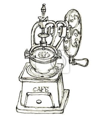 Hand gezeichnete Skizze Jahrgang Kaffeemühle isoliert