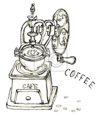 Hand gezeichnete Skizze Jahrgang Kaffeemühle Kaffeebohnen Schriftzug isoliert
