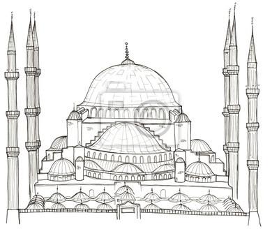 Hand gezeichneten Architektur Skizze der Türkei Istanbul Blaue Moschee (Sultanahmet-Moschee) isoliert auf weiß