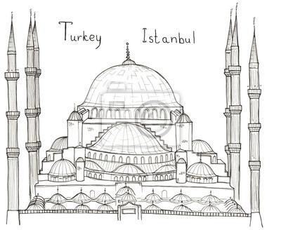Hand gezeichneten Architektur Skizze der Türkei Istanbul Blaue Moschee (Sultanahmet-Moschee) mit Schriftzug isoliert auf weiß