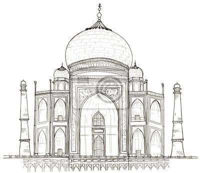 Hand gezeichneten Architektur Skizze von Agra, Indien Taj Mahal isoliert auf weiß