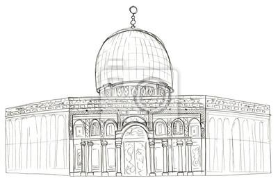 Hand gezeichneten Architektur Skizze von Israel Jerusalem-Moschee Kuppel des Felsens isoliert