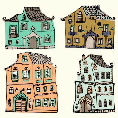 Hand gezeichneter Satz skizzierte typische Landhäuser lokalisiert auf weißem Hintergrund. Cartoon Häuser. Vorderansicht. Collorful-Vektor-Illustration.