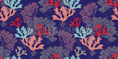 Poster Hand gezeichnetes nahtloses Vektormuster. Trendy Muster mit Korallen und Algen auf blauem Grund für Druck, Stoff, Textil, Herstellung, Tapeten. Meeresgrund.