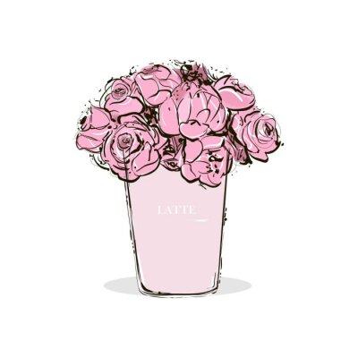 Poster Hand Zeichnung ein Pastell rosa Tasse Kaffee mit Latte und schöne rosa Blüten im Inneren. Mode Vektor-Illustration. Aquarell Design der modischen Illustration. Trend stilvolle Karte