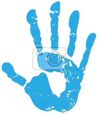 Handabdruck Hand Blau Wandposter Poster Kinderhand Integriert