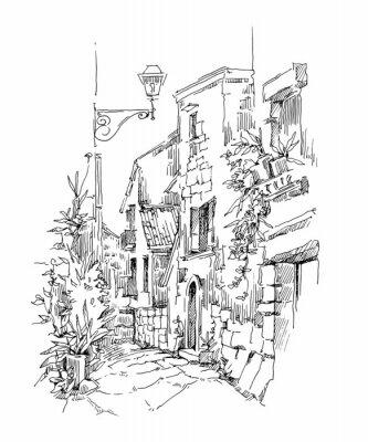 Poster Handgemachte Skizze der alten Straße.