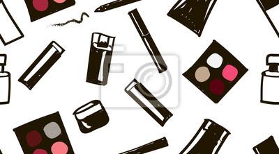 Poster Handgezeichnetes nahtloses Gekritzel-Kosmetikmuster. Illustration Kosmetik: Wimperntusche, Lippenstift, Augenstift, Lidschatten, Parfüm, Fundament, Sahneglas