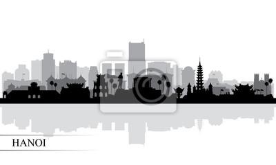 Hanoi city skyline silhouette background