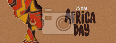 Poster Happy Africa Day banner of african papercut woman