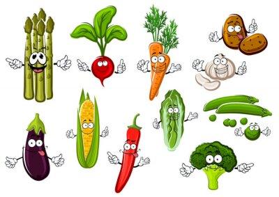 Poster Happy Bauernhof Gemüse Cartoon-Zeichen