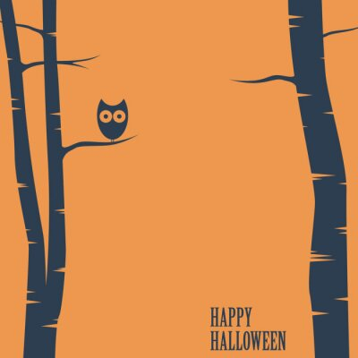 Poster Happy halloween card with owl sitting on tree. Holiday postcard