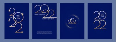 Poster Happy new 2022 year Elegant gold text with light flyer set. Minimalistic text template.