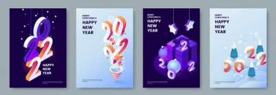 Poster Happy New Year 2022 posters collection in isometric style. Greeting card template with isometric graphics and typography. Creative concept for banner, flyer, cover, social media. Vector illustration.