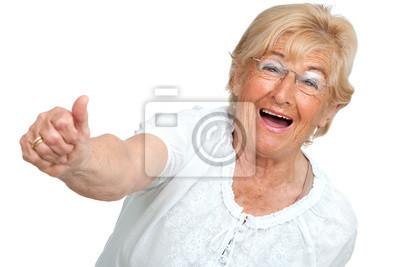 Happy senior Frau zeigt Positivität.