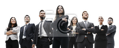 Poster happy successful business team isolated on white background