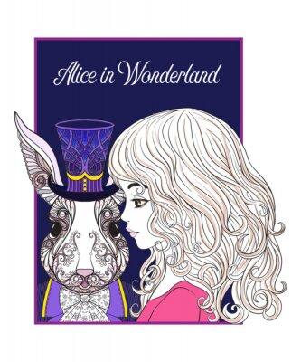 Poster Hase oder Kaninchen im Hut aus dem Märchen Alice in Wonderla