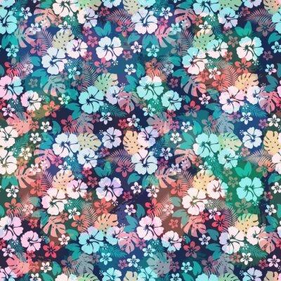 Hawaiian tropischen floralen nahtlose muster. wandposter • poster ...
