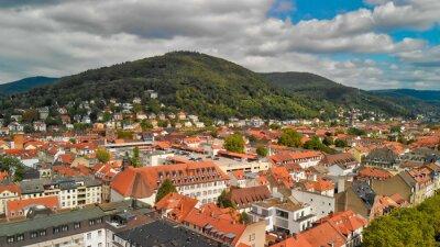 Heidelberg in summer season, Germany. View from drone