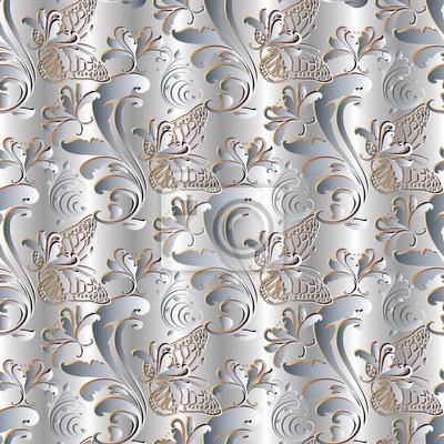 Hell Floral Nahtlose Muster Silber Draperie Hintergrund Tapeten