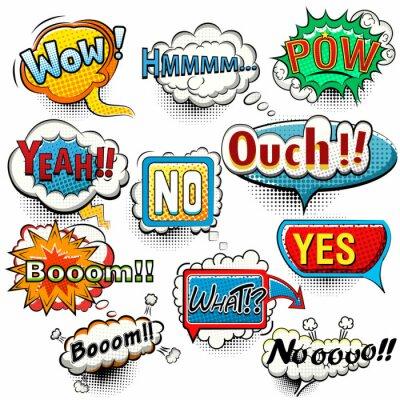 Poster Helle komische Sprechblasen schreit, Sätze, Tönevektor