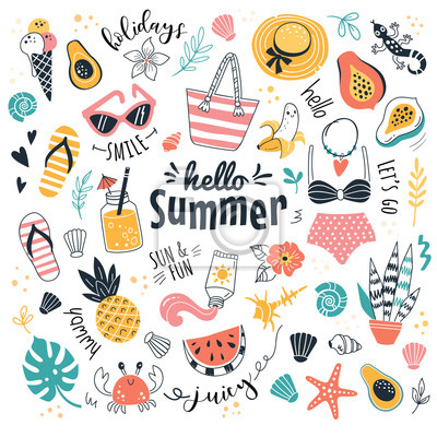Poster Hello Summer collection. Vector illustration of funny cartoon summer icons, such as fruits, exotic animals and plants, swimwear and food in doodle style. Isolated on white.