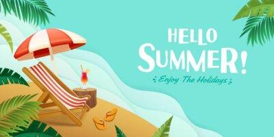Poster Hello summer holiday beach vacation theme horizontal banner.