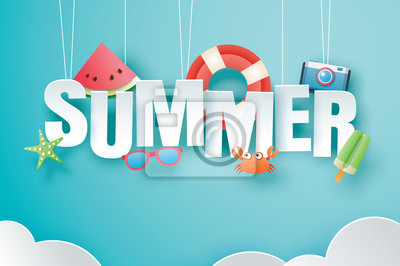 Poster Hello summer with decoration origami hanging on blue sky background. Paper art and craft style. Vector illustration of life ring, ice cream, camera, watermelon, sunglasses.