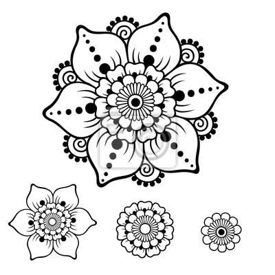Henna tattoo blume vorlage. mehndi-stil. set von ornamentalen ...