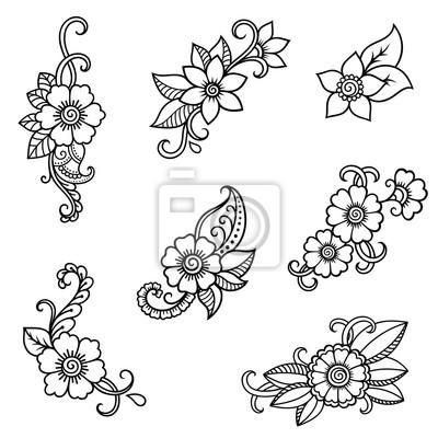 poster henna tattoo blume vorlage mehndi stil set von ornamentalen mustern im orientalischen - Henna Tattoo Muster