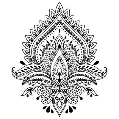 Henna Tattoo Blumen Vorlage Im Indischen Stil Ethnische Blumen