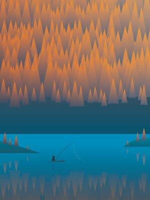 Poster Herbst Landschaft Vektor-Hintergrund mit Laub Bäume und ein See. Fischerfischerei von seinem Boot