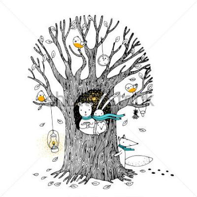 Poster Herbstbaum, Bär, Hase, Igel, Fuchs und Vögel. Hand gezeichnete Vektorillustration auf einem weißen Hintergrund.