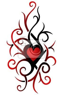 Herz Tattoo Vorlage Tribal Wandposter Poster Tatowiert Squiggly Tatsache Myloview De