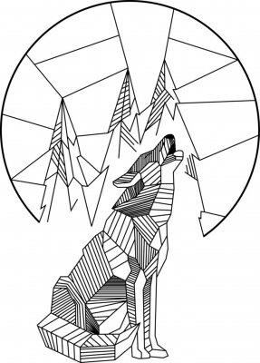 Poster Heulender Wolf Geometrisch